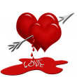 Hearts with arrow — Stock Photo