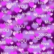 Purple and pink hearts background with love words — 图库照片