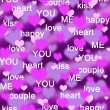 Purple and pink hearts background with love words — Stock Photo #4610199