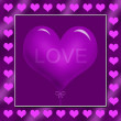 Purple heart shape balloon in frame — Foto Stock
