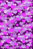 Purple and pink hearts background with love words — Stock Photo