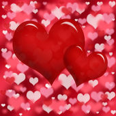 Two red heart on bokeh background — Stock Photo