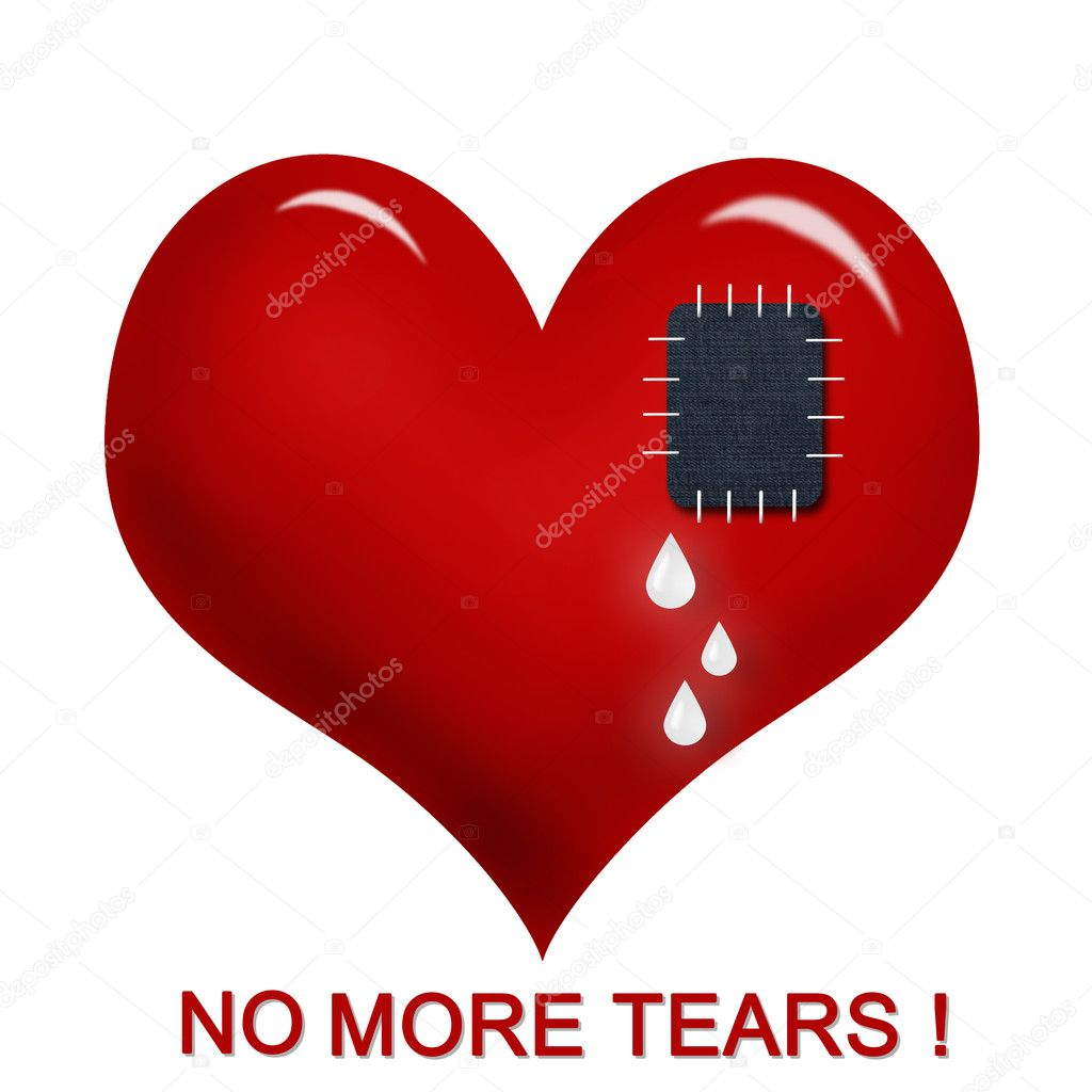 Red heart with sewn jeans patch and inscription no more tears !  isolated on white — Stock Photo #4610197