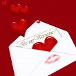 Be my Valentine ! - letter on red background — Stock Photo #4629838