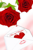 Two red roses and love letter — 图库照片