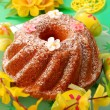 Ring cake on easter table — Stock Photo