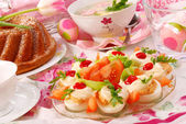 Easter dishes on festive table — Stock Photo