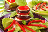 Appetizer with grilled aubergine — Stock Photo