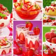 Strawberry`s desserts photos-collage — Stockfoto