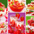 Strawberry`s desserts photos-collage — ストック写真
