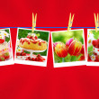 Sweet love collection on red background — Stock Photo