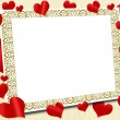 Love frame with red hearts on canvas background — Stock Photo