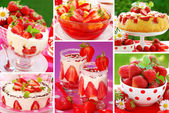 Strawberry`s desserts photos-collage — Stock Photo