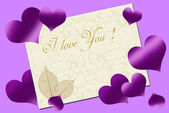 Love card with purple hearts — Photo