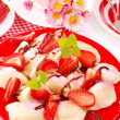 Sweet ravioli with strawberry - Stock Photo