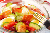 Salad with smoked salmon — Stock Photo
