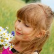 Young girl on field — Stock Photo