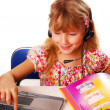 Girl learning with laptop — Stock Photo