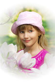 Young girl in spring garden in high key — Stock Photo