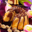 Stock Photo: Marble ring cake for easter
