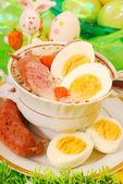 Easter white borscht ( zurek ) — Stock Photo