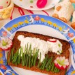 Funny easter breakfast for child — Stock Photo
