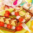 Funny easter breakfast for child — Stok Fotoğraf #5180412