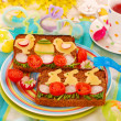 Stock Photo: Funny easter breakfast for child