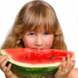 Little girl and watermelon — Stock Photo