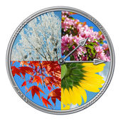 Clock with four seasons of the year — Photo