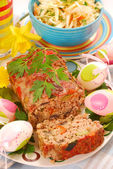 Meatloaf with vegetables for easter — Stock Photo