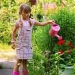 Stock Photo: Young girl in garden with watering can