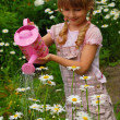 Young girl in the garden with watering can — Stock Photo #5331872