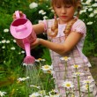Young girl in garden with watering can — Stock Photo #5331886