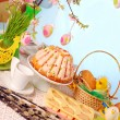 Easter table with cakes and basket — Stock Photo