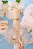 Candle for first holy communion — Stock Photo