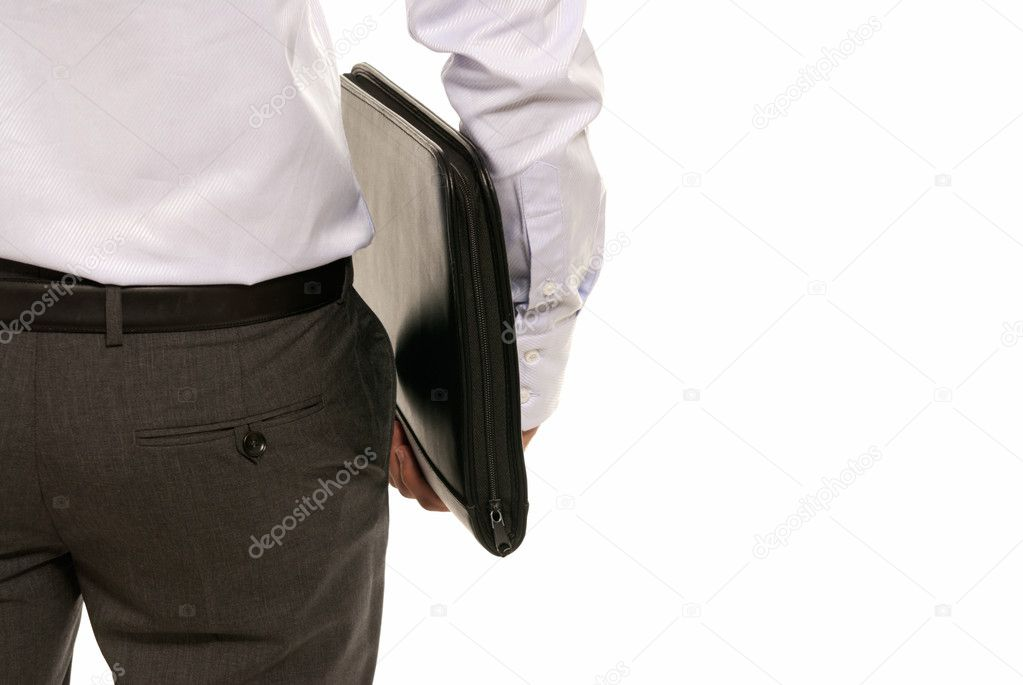 Unrecognizable businessman back with suitcase isolated on white background — Stock Photo #3974599