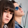 Young couple urban fashion close-up portrait — Stock Photo