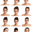 Young woman face expressions composite isolated on white background - Stok fotoraf