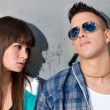 Young couple urban fashion close-up portrait — Foto Stock