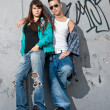 图库照片: Young couple urban fashion standing portrait