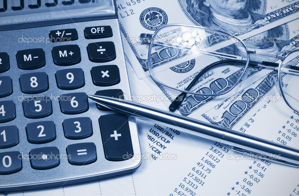 Calculator, Dollar, glasses and pen on the background of the financial statements  — Stock Photo #4449290