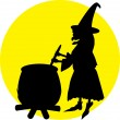Witch on yellow — Stock Vector