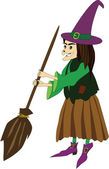 Witch with a broom — Stock Vector
