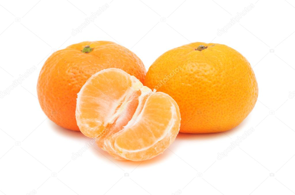 Fresh Tangerines, isolated on a white background — Stock Photo #4579706