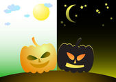 Halloween (Day and night) — Stock Vector