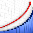 Stock Photo: Growth Graph With Grid