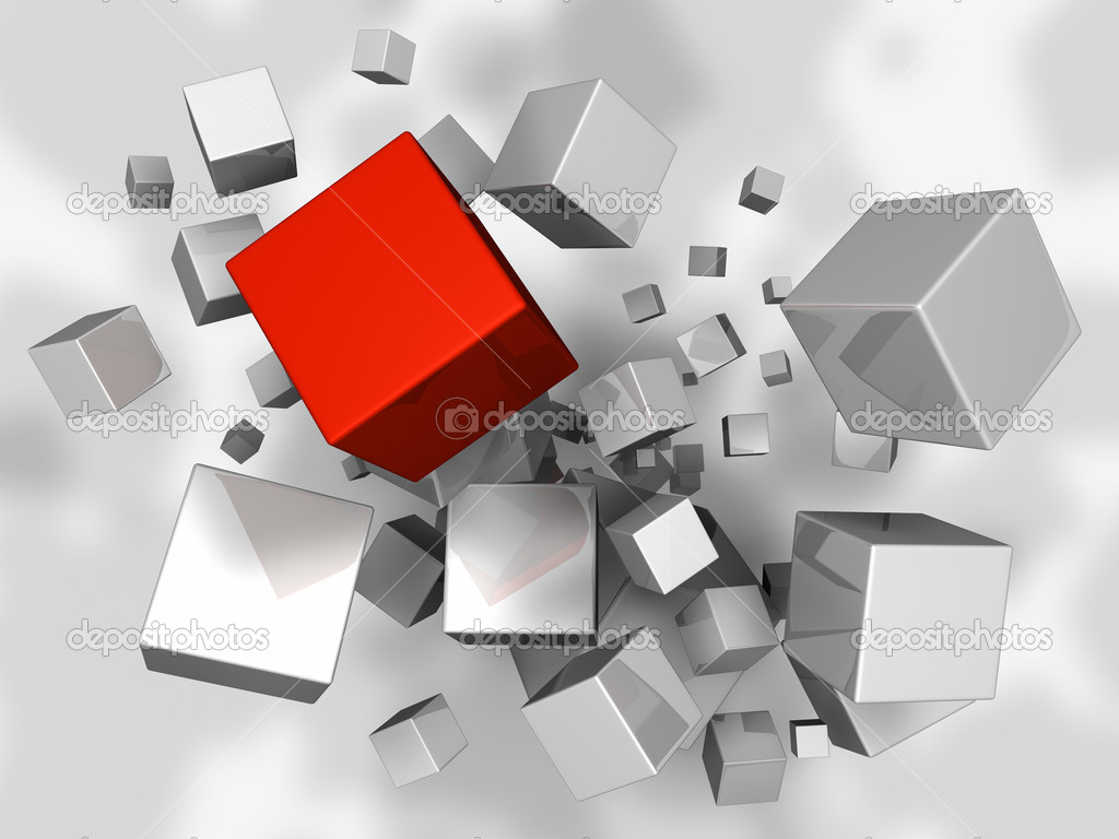 White cubes explosion, one red, 3d render — Stock Photo #4658521