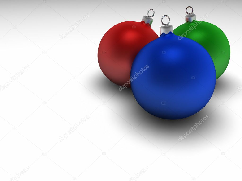 Three mat colorful christmas bulbs with silver hangers, 3d render  Stock Photo #4659741