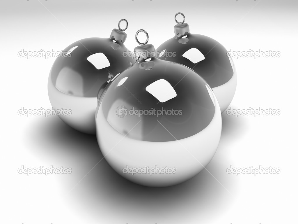 Three silver christmas bulbs with silver hangers, 3d render  Stock Photo #4660813